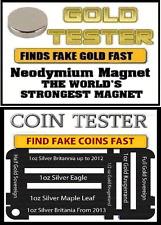 Neodymium Rare Earth Magnet coin Testing Scrap Gold, -10mm great bit of kit