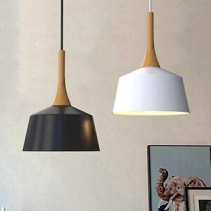 Wooden Pendant Light Nordic Kitchen Ceiling Lamp E27 27CM 40CM White Black