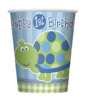 First (1st) Birthday (Boy) TURTLE 8 PAPER CUPS - 9oz (Party/Decoration)