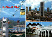 SINGAPORE Singapur AK 1984 mit Briefmarken Postcard Cable Car, diverse Bauwerke