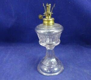 OLD TWILIGHT OIL LAMP MINIATURE AMETHYST PEDESTAL GLASS LIGHT MANHATTAN BRASS Co