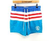 HOLLISTER Mens Swim Shorts M Medium W32 L5 Blue Red White Stripes Polyester