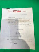 JACK TAYLOR Vintage Cycling 1966 Sporting Cyclist Old letter Tour de L' AVENIR