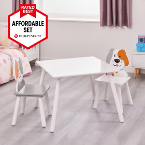 Kids Table and Chairs Set Cat and Dog Design