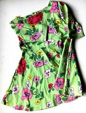 POLARN O PYRET GIRLS 1.5 / 2 YEARS LIME GREEN FLOWER DRESS NEW