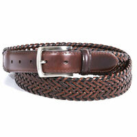 Dockers 11DK0438 Men's Leather Stretch Braided Casual Belt (Brown, 36)