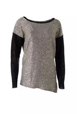 DKNYC New Womens Sz XS S Gold Black Sequined Long Sleeve Pullover Sweater Top