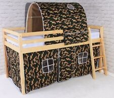 Wooden White Cabin Loft Mid Sleeper Bed 3ft Single Bunk Pine Boys Kids