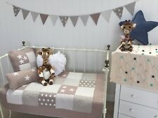 4 pce Lachlan Natural Cot Quilt 2  Cushions Bunting Set Boy Girl Nursery Bedding