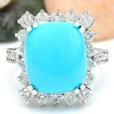 9.36 Carat Natural Turquoise 14K Solid White Gold Diamond Ring
