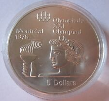 1974 Canadian $5 Sterling Silver Coin Athlete w/Torch BU in Capsule KM#90 #4927