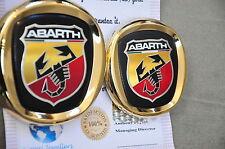FIAT ABARTH STEMMA GRIGLIA ANTERIORE POSTERIORE BAGAGLIAIO AUTO Emblema placcato in oro 24K 0735495890