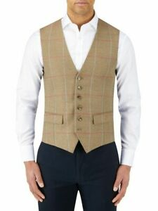 WAISTCOAT BY SKOPES 52R WISHART STYLE SAGE CHECK SINGLE BREASTED ORP £129 BNWT