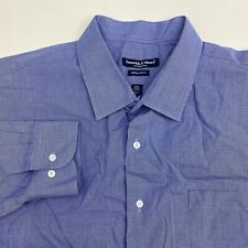Preswick & Moore Button Up Dress Shirt Mens Size 18-18.5 Long Sleeve Blue White