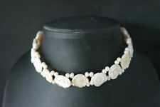 "Choker With Carved Mother Of Pearl 15"" Inches Wide And Gold Color Clasps In Box"