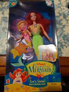 NEW Walt Disney The Little Mermaid LET'S SWIM ARIEL AND MERBABY SANDY DOLL~ Rare