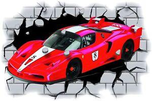 Huge 3D Ferrari FXX Crashing through wall View Sticker Mural Decal 95