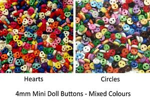 Mini Buttons for Dolls & Soft Toys Clothes - Assorted Colours & Designs