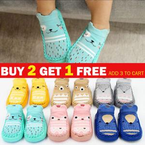 Newborn Baby Girl Boy Toddler Anti-Slip Socks Shoes Floor Slippers Sock Shoes UK