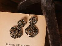 Boucles d'Oreilles Clous Doré Art Deco Baroque Octogone Dentelle Gris Retro X5