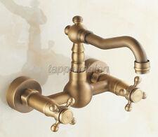 Antique Brass Wall Mounted Bathroom Faucet Wash Basin Mixer Kitchen Taps ttf003