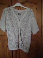 Andrita S/M short sleeved cardigan. Cream/beige. Cotton and polyester