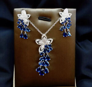 18k White Gold Over Sterling Silver Pendant Necklace Earrings Set Blue Sapphire