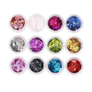 12 Mixed Color Charms Nail Glitter Sequins for DIY Crafts 3D Nail Art Decoration