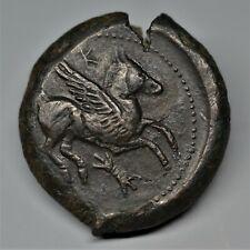 EXTREMELY RARE BRONZE AE 21. SICILY, ENTELLA. PEGASUS. CIRCA, 343/2-339 BC. E.F.