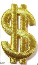 IRON ON PATCH APPLIQUE - $ DOLLAR SIGN MET GOLD LARGE