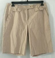 Talbots Womens Bermuda Stretch Walking Short Brown Striped 4 Pockets   Size 12