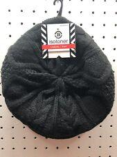 ISOTONER Women's O/S Black Irish Cable Knit Newsboy / Cabbie Hat  FREE Shpg NWTA