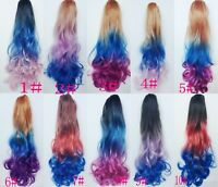 Long Ombre Claw Clips In Hair Extensions Synthetic Drawstring Ponytail Hair
