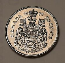 1976 Canada 50 Cents Coin (100% Nickel) - Queen Elizabeth II
