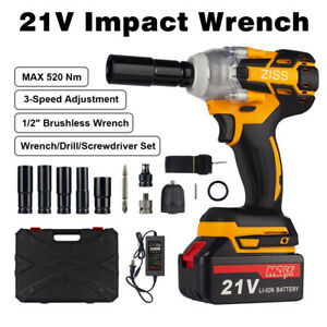 "4IN1 Cordless Impact Wrench 1/2"" 520Nm Driver Brushless Rattle Gun Socket Set"