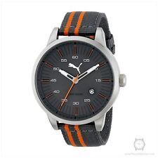 NEW Puma PU103641004 Mens Sunburst Dial Orange and Grey Stripe Nylon Strap Watch