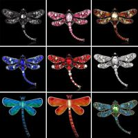 Wholesale Fashion Crystal Rhinestone Dragonfly Animals Enamel Brooch Pin Jewelry