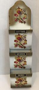 Vintage Metal Mail Wall Hanging Organizer Holder Fruit Flower Bills Letter