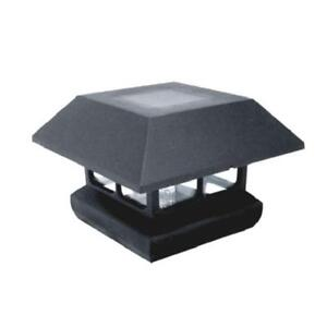 1 PACK - 4 in. x 4 in. Black Solar-Powered Post Cap Light for Deck or Fence