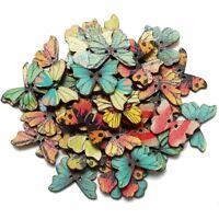 50pzs Boton de madera de mariposa mixta de 2 agujeros Artesania DIY album d D8F4