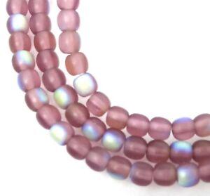 100 Czech Glass Round Beads - Matte AB moonstone: Amethyst 4mm