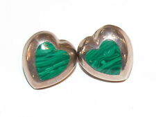 Vintage Sterling Silver 925 Inlay Green Malchite Puffy Heart Earrings 12.1 Grams