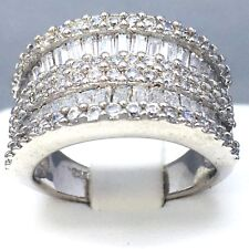 """925 SILVER CUBIC ZIRCON MICRO PAVE """"BAGUETTE"""" ANNIVERSARY RING  SIZE """"R½""""  1622"""
