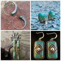 Bohemian Women Charm Dangle Ear Stud Jewelry 925 Silver Turquoise Hook Earrings