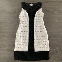 Joseph Ribkoff Sleeveless Sheath Dress Size 10 Black White Scalloped