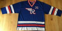 Vintage 80s RAWLINGS hockey jersey XL red white blue #35 striped ice roller
