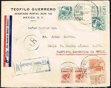3225 MEXICO TO CHILE REGISTERED AVIS RECEPTION AIR MAIL COVER 1955 PAN AM !!!
