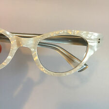 White Eyeglasses, Vintage 1960s Pearly White Cateye Glasses, New Old Stock Cat