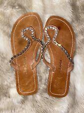 Womens Tan Colour Hard Leather Flip Flop Sandals Size 3 Worn Condition