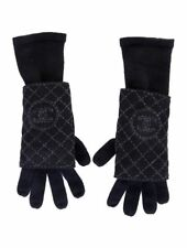 CHANEL  2-in-1 BLACK CASHMERE GLOVES+ FUR SHEARLING FINGERLESS GLOVES-one size